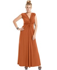 Love Squared Trendy Plus Size Sleeveless Knotted Maxi Dress Paprika