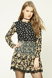 Forever 21 Floral Print Swing Dress Black Turquoise