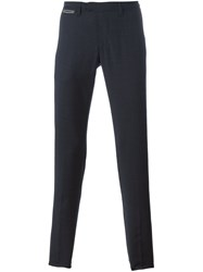 Eleventy Checked Straight Trousers Blue