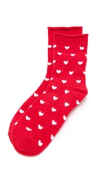 Plush Heart Rolled Fleece Socks Red