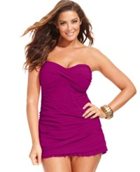 Gottex Profile By Plus Size Ruched Ruffled Swimdress Women's Swimsuit Magenta