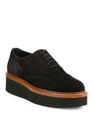 Tod's Suede Wingtip Platform Oxfords Black