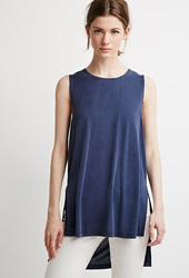 Forever 21 Side Slit Muscle Tee Navy