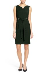 Ellen Tracy Women's Belted Sheath Dress Evergreen
