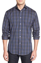 Thomas Dean Classic Fit Long Sleeve Check Poplin Sport Shirt Purple