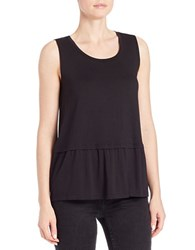 Lord And Taylor Pleated Roundneck Shell Black