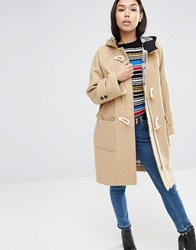 Asos Hooded Duffle Coat In Oversized Fit Camel Stone
