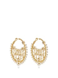 Maria Tash Diamond Pearl And Yellow Gold Earrings