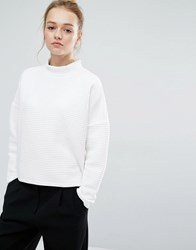 Monki Quilted Sweatshirt Jumper White Grey