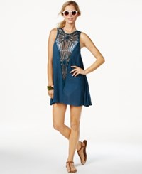 O'neill Crochet Front Shift Cover Up Women's Swimsuit Sapphire