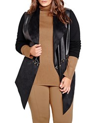 Addition Elle Michel Studio Faux Leather And Suede Cardigan Black