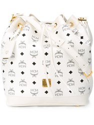 Mcm 'Visetos Heritage' Logo Print Drawstring Bucket Cross Body Bag White
