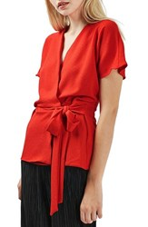 Topshop Women's Tie Waist Top Red