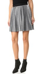 Alice Olivia Danica Sunburst Pleated Miniskirt Silver Black