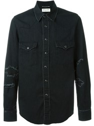 Saint Laurent Distressed Denim Shirt Black