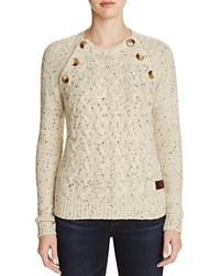 Vero Moda Elbow Patch Cabled Sweater Speckled Ivory