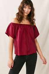 Urban Renewal Remade Off The Shoulder Silky Shirt Maroon