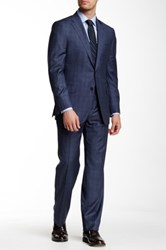Hickey Freeman Navy Plaid Wool Suit Blue