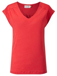 Collection Weekend By John Lewis Gathered Shoulder Linen Jersey Top Bittersweet Coral