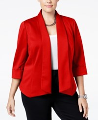 Kasper Plus Size Open Front Jacket Fire Red
