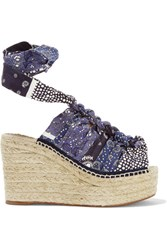 Chloe Printed Canvas Espadrille Wedge Sandals Blue