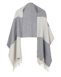 Jaeger Wool Block Stripe Wrap White