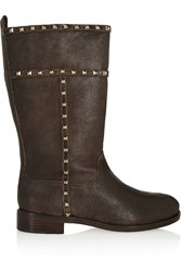 Tory Burch Shauna Studded Distressed Leather Boots Brown