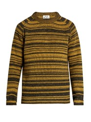 Acne Studios Kees Striped Wool Sweater Yellow Navy