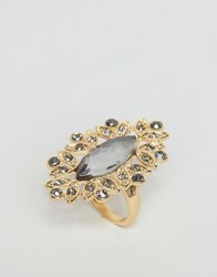 Little Mistress Jewel Encrusted Ring Gold Black