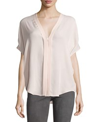 Vince Pleated Front V Neck Crepe Blouse New Buff
