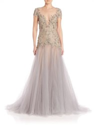 Marchesa Embroidered Illusion A Line Gown Lilac Grey