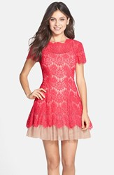 Betsy And Adam Women's Short Sleeve Lace Fit Flare Dress Red Nude