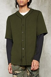 Forever 21 2 Layer Baseball Jersey Olive Black