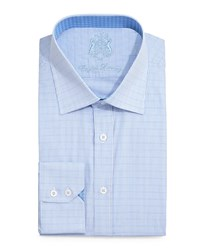 English Laundry Window Check Dress Shirt Light Blue