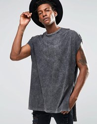 Asos Super Oversized T Shirt With Extreme Side Splits And Acid Wash Acid Wash Grey