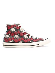 Converse Floral Print High Top Sneakers Red
