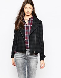 Pepe Jeans Penny Checked Biker Jacket 0Aa