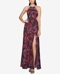 Fame And Partners Backless Abstract Print Gown Floral