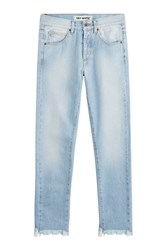 Off White Slim Fit Cropped Five Pocket Jeans Blue