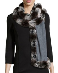 Badgley Mischka Faux Fur Trim Knit Wrap Grey Grey