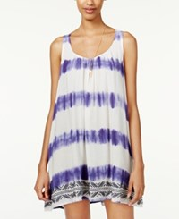 Roxy Juniors' On And On Sleeveless Tie Dyed Shift Dress Purple White
