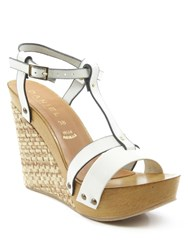 Daniel Prati Elle Woven Wedge Sandals White