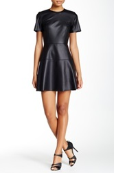 Necessary Objects Faux Leather Fit And Flare Dress Juniors Black