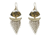 Alexis Bittar Dangling Mesh Wire Earrings Gold Lame
