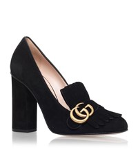 Gucci Marmont Fringed Loafer Heel Female Black