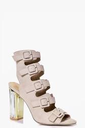 Boohoo Clear Heel Buckle Shoe Boot Nude