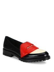 Alice Olivia Tamar Lips Leather And Calf Hair Loafers Black Multi