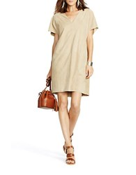 Polo Ralph Lauren Suede V Neck Shift Dress Beige