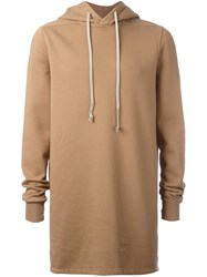 Rick Owens Drkshdw Oversized Long Sleeve Hoodie Nude And Neutrals