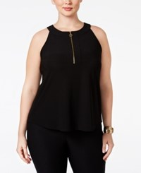 Inc International Concepts Plus Size Front Zip Halter Top Only At Macy's Deep Black